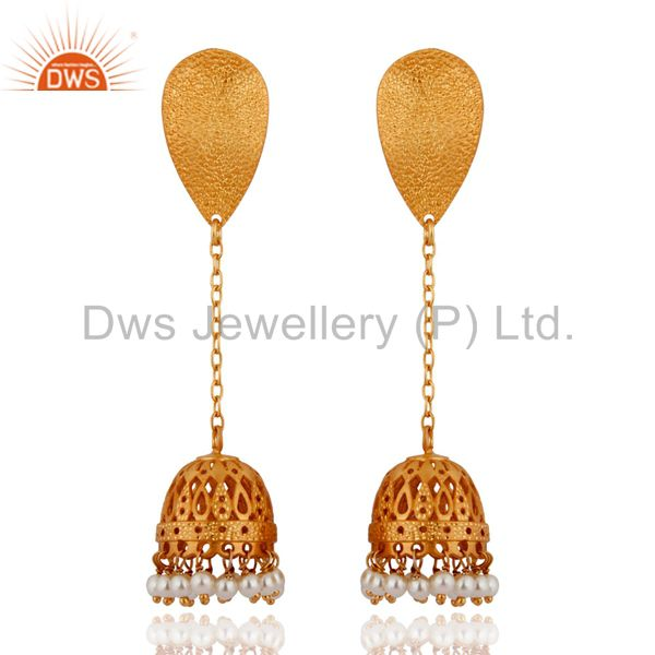 22K Yellow Gold Plated Sterling Silver Pearl Beads Chain Dangle Jhumka Earrings