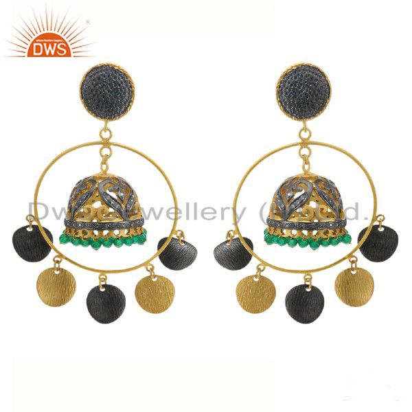18K Yellow Gold Plated Brass Green Onyx And CZ Indian Fashion Jhumka Earrings