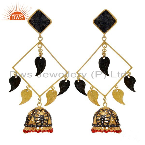 22K Yellow Gold Plated Brass Red Onyx Gemstone Beads And CZ Chandelier Earrings