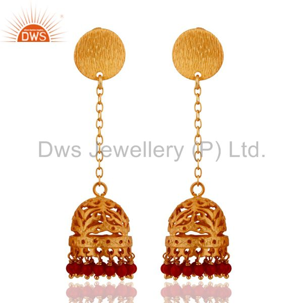 18k Gold Plated 925 Sterling Silver Brush Finish Red Coral Jhumka Style Earrings