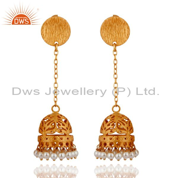 Awesome Indian Designer Jhumka Style Sterling Silver Pearl Earrings For Girls