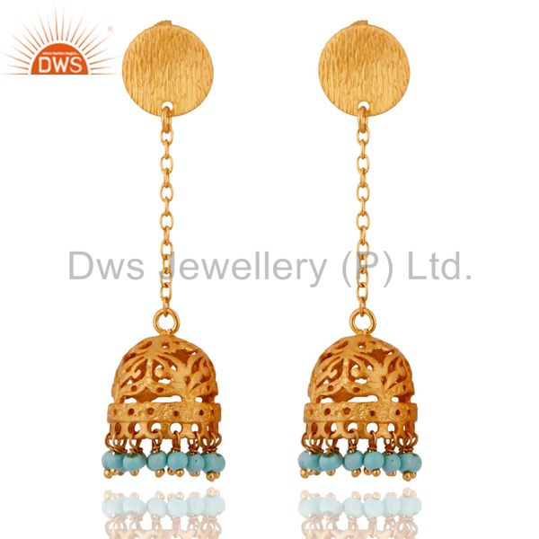925 Sterling Silver Turquoise Jewelry 18k Gold Plated Jhumka Designer Earrings