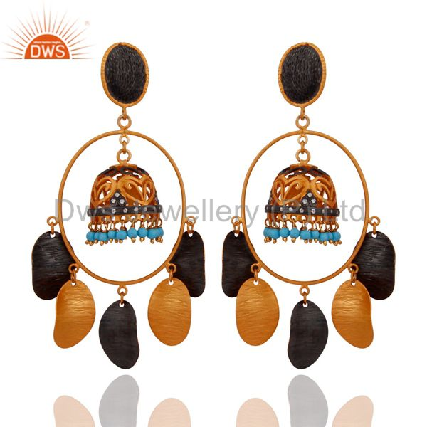 18K Yellow Gold Plated Pretty Designer Turquoise Stone Wedding Earrings Jewelry