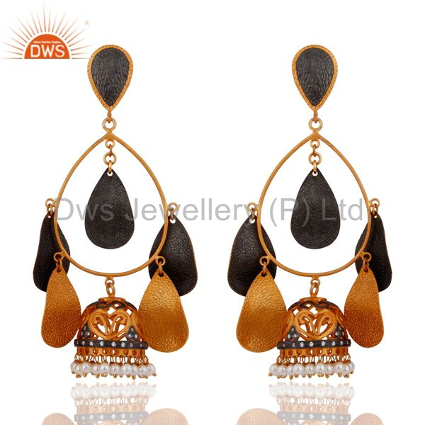Natural Pearl Womens Chandelier Earrings With Stunning 18K Yellow Gold Plated