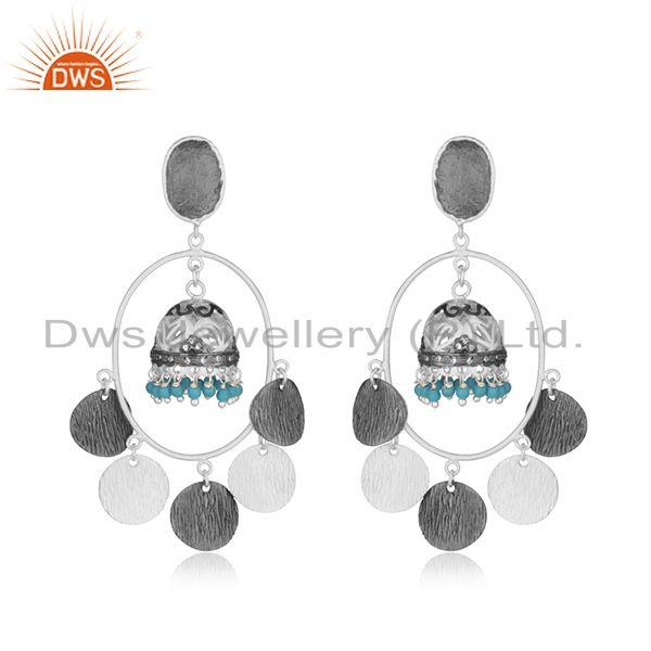 Traditional Silver Plated Brass Fashion Gemstone Jhumka Earrings Manufacturer
