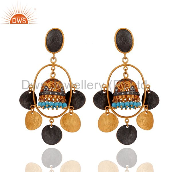 24k Yellow Gold Plated Natural Turquoise Gemstone Tribal Chandelier Earrings