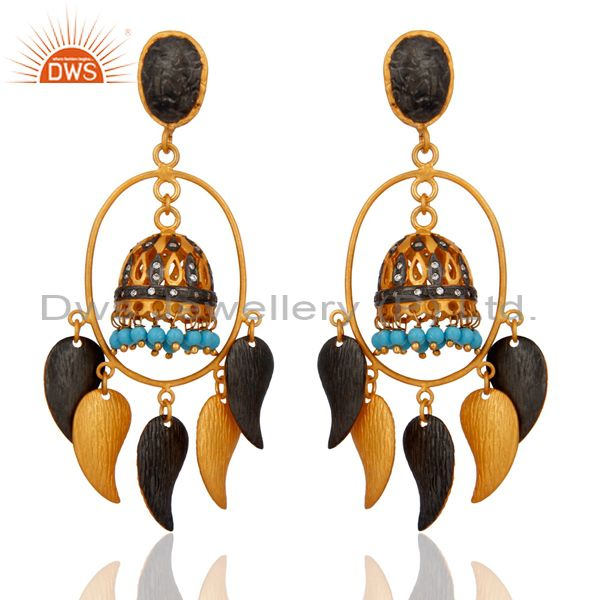 18K Yellow Gold Plated Brass Turquoise And CZ indian Fashion Jhumka Earrings