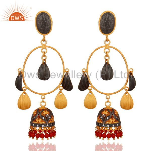 CZ And Red Onyx Gemstone Jhumka Chandelier Earrings in 18K Gold On Brass Jewelry