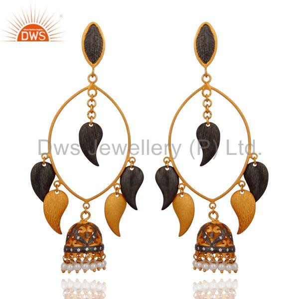 22K Gold Plated Brass Brushed Finish Pearl And CZ Fashion Designer Earrings