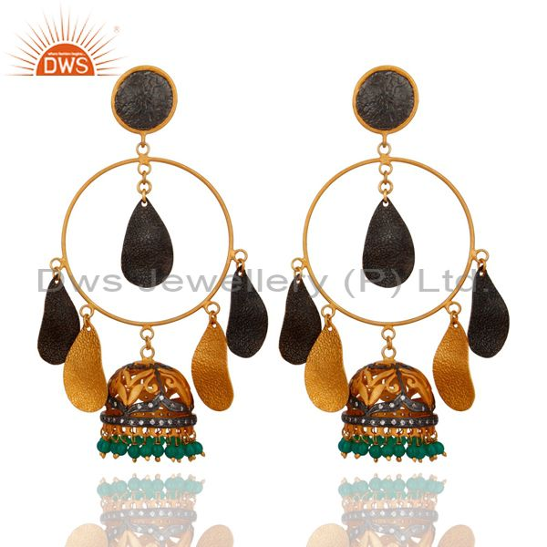 CZ & Green Onyx Gemstone Jhumka Chandelier Earrings in 18K Gold over Brass