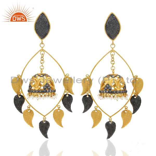 22K Yellow Gold Plated Brass Pearl And CZ Womens Ethnic Fashion Earrings