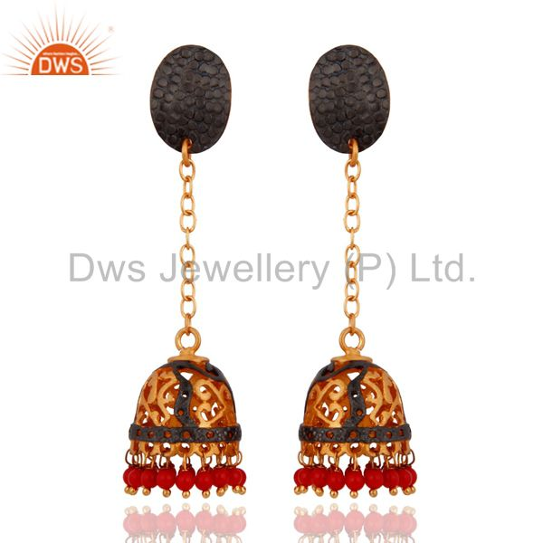Natural Red Coral Gemstone 24k Yellow Gold Plated Indian Ethnic Designer Earring