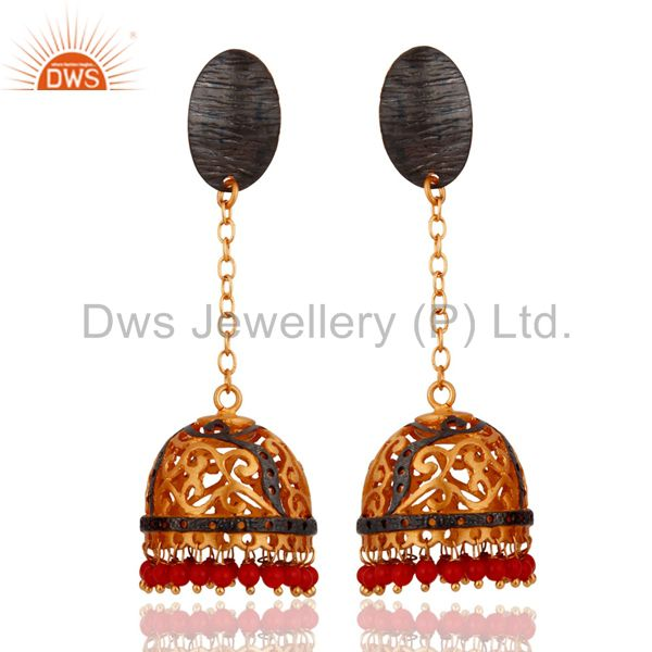 Indian Design 18k Yellow Gold Plated Red Coral Dangle Earrings Jewelry