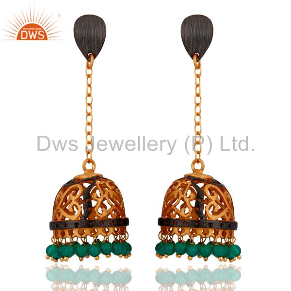 Indian Filigree Designer 22k Gold Plated Green Onyx Gemstone Long Jhumka Earring