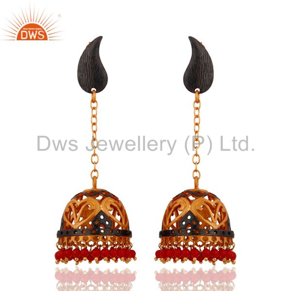 Designer 22k Yellow Gold Vermeil Handcrafted Coral Red Indian Jhumkas Earrings