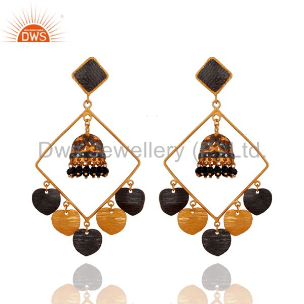Handmade Black Onyx Gemstone Jhumka Earrings With 24k Yellow Gold Plated Jewelry