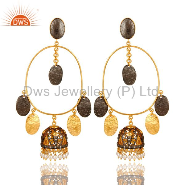 22K Gold Over Sterling Silver Pearl Traditional Designer Fashion Jhumka Earrings