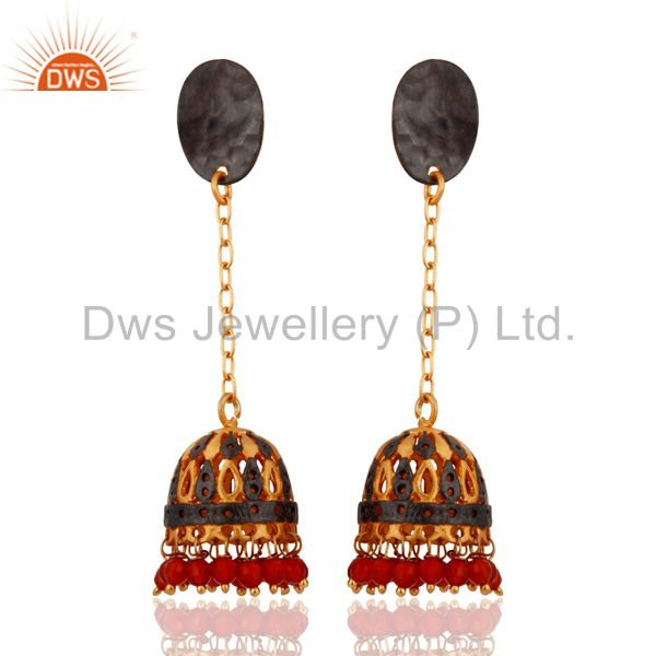 Red Onyx Gold Plated Jhumki Earrings For Womens Indian Bollywood Fashion Jewelry