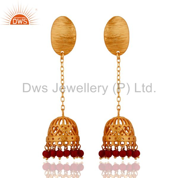 Red Coral Gemstone Beads Gold Plated Ethnic Designer Sterling Silver Earrings