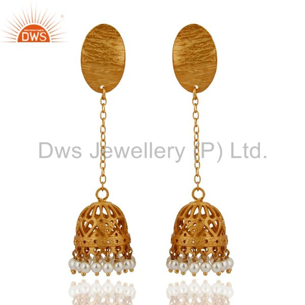 Indian Ethnic Design Natural Pearl Sterling Silver Earring With Gold Vermeil 18k