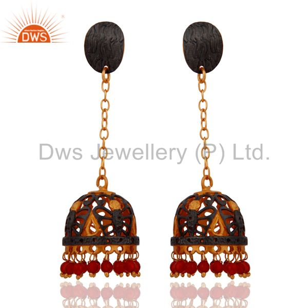 22KT Yellow Gold Plated Natural Red Onyx Gemstone Indian Jhumki Dangle Earrings