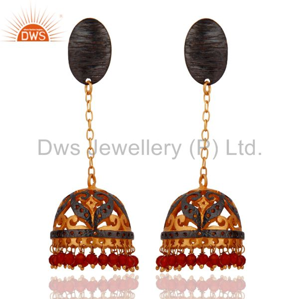 18k Yellow Gold Plated Red Onyx Designer Women Fashion Jhumka Style Earring