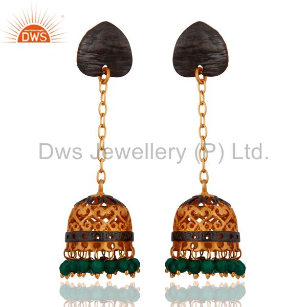 24k Yellow Gold Plated Satin Finished Green Onyx Earring For Womens Gift Jewelry