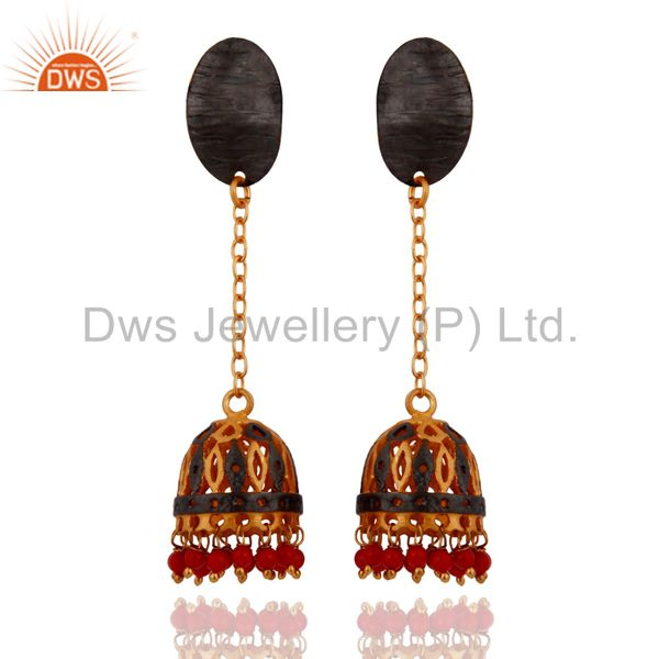 Natural Red Coral Gemstone 18K Yellow Gold Plated Ethnic Bridal Dangle Earrings