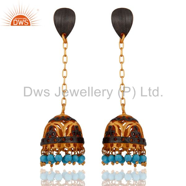 Amazing Indian New Design Ethnic Yellow Gold Plated Turquoise Earring Jewelry