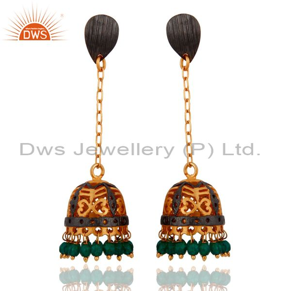 Green Onyx 22K Gold Plated South Indian Designer Long Jhumka Bridal Earrings