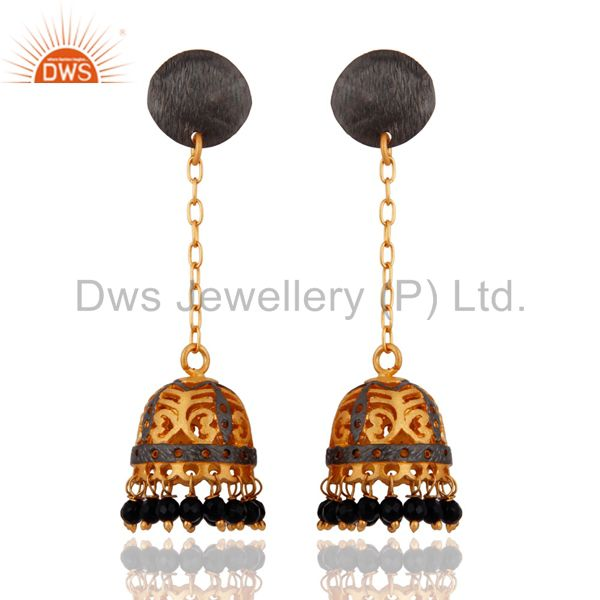 18K Yellow Gold Plated Natural Black Ony Gemstone Indian Traditional Earrings