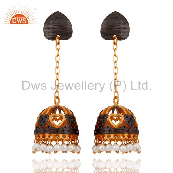 18Karat Gold Plated Natural Pearl Party Wear Gold Plated Fashion Jhumka Earrings