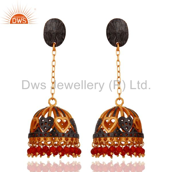 Red Onyx Semi Precious Stone Beads 18k Gold Plated Heart Designs Earrings