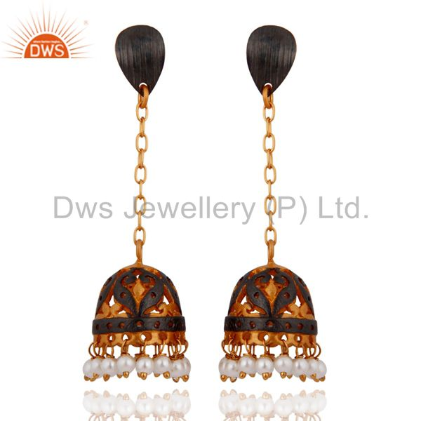 Designer Natural Pearl Beads Earrings - 24k Yellow Gold Plated Fashion Jewelry
