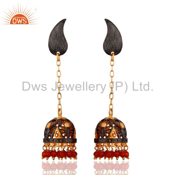 Handmade Red Onyx Gemstone 18K Yellow Gold Plated Indian Ethnic Bridal Earrings