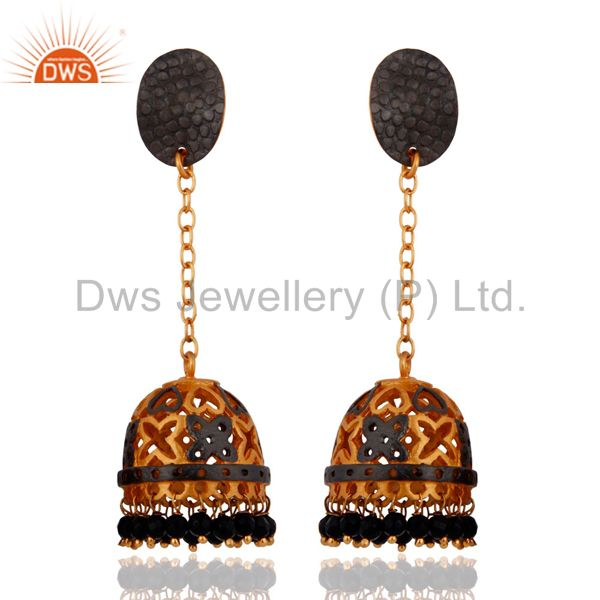 Natural Black Onyx Gemstone Beads 24k Yellow Gold Plated Indian Jhumka Earrings