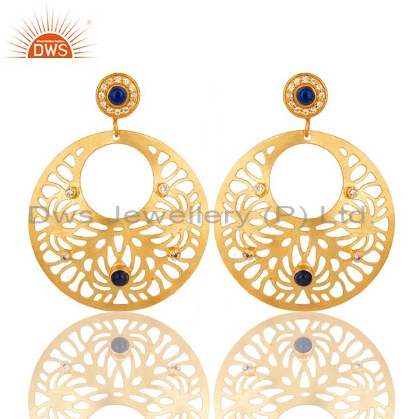 14K Yellow Gold Plated Blue Aventurine And CZ Filigree Design Earrings