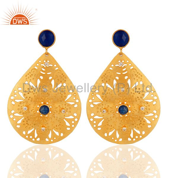 Natural Blue Aventurine And Cubic Zirconia Gold Plated Filigree Dangle Earrings