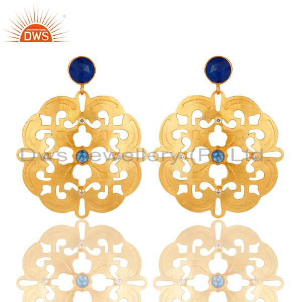 14K Yellow Gold Plated Blue Aventurine And White Zircon Designer Earrings