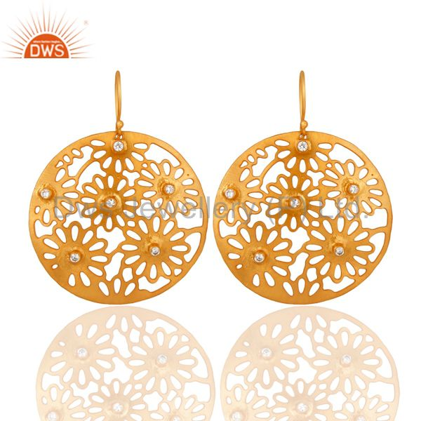 14K Yellow Gold Plated White Cubic Zirconia Unique Filigree Designer Earrings