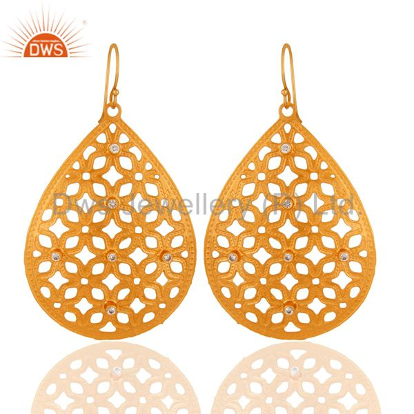 Unique Handcrafted Filigree Designer Drop Earrings Made In 24k Gold Over Brass