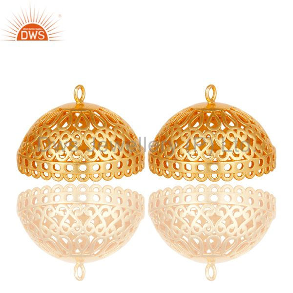 Traditional Handmade 24K Yellow Gold Plated Art Fashion Brass Earrings Jewellery