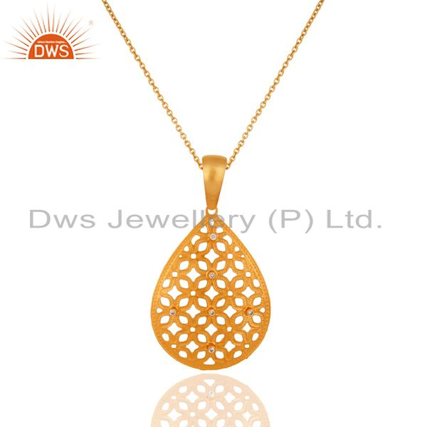 Handcrafted Filigree 24K Gold Plated Cubic Zirconia Fashion Pendant Necklace