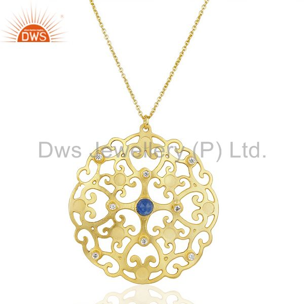 18K Yellow Gold Plated Blue Aventurine Designer Pendant Necklace With CZ