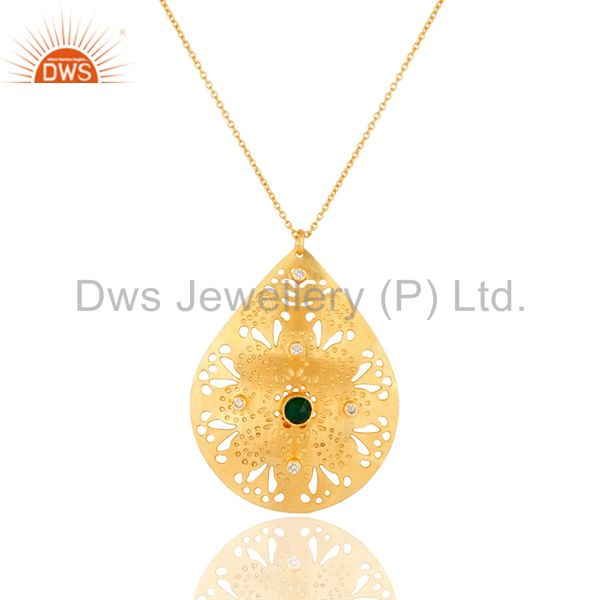 18K Yellow Gold Plated Green Onyx And White Zircon Pendant Necklace