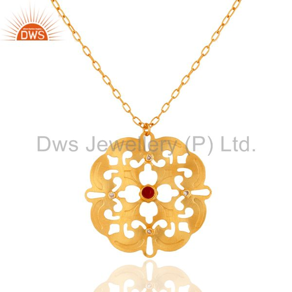 Coral Cultured And Cubic Zirconia Pendant Chain Made In 18K Yellow Gold On Brass