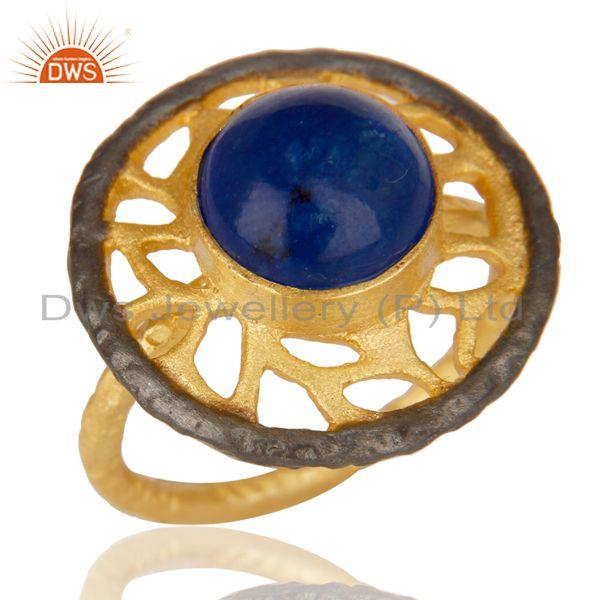 14K Yellow Gold Plated Handmade Wide Round Natural Aventurine Brass Ring