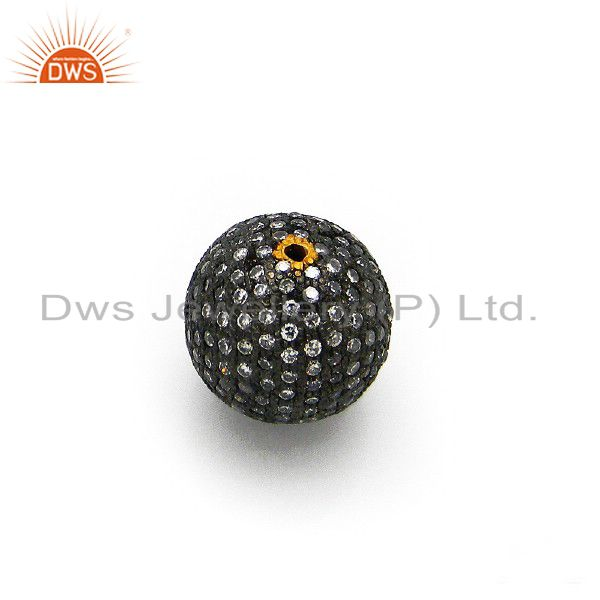18k Yellow Gold Plated Pave Cubic Zirconia Round Spacer Bead Fashion Charm