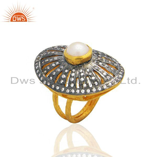 22K Yellow Gold Plated Brass Pearl And CZ Victorian Style Cocktail Ring