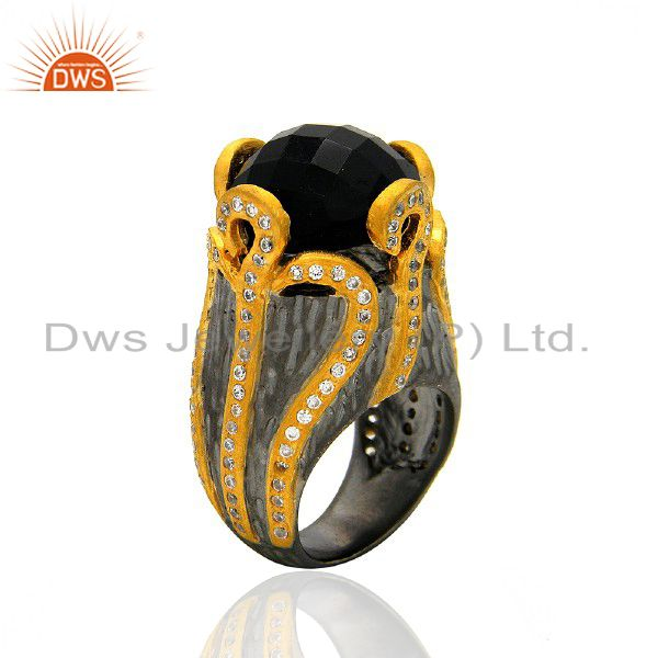 Oxidized And 22K Yellow Gold Plated Black Onyx And CZ Designer Ring